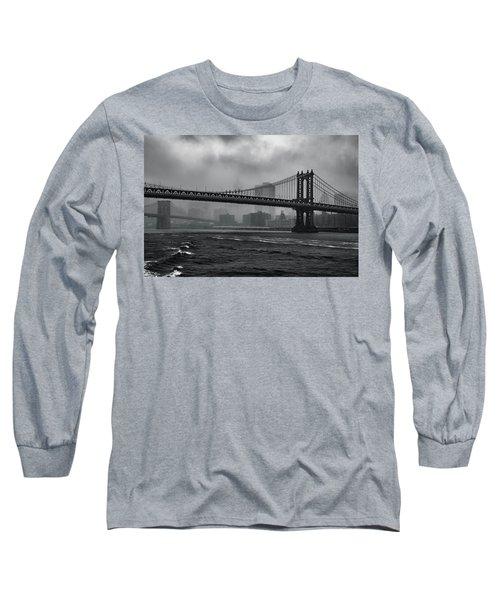 Manhattan Bridge In A Storm Long Sleeve T-Shirt