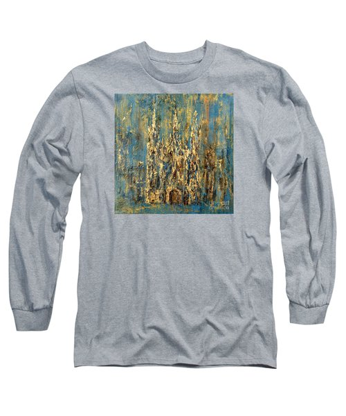 Long Sleeve T-Shirt featuring the painting Gothic Church  by Arturas Slapsys