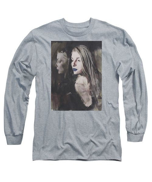 Long Sleeve T-Shirt featuring the digital art Gothic Mirror Echo by Galen Valle