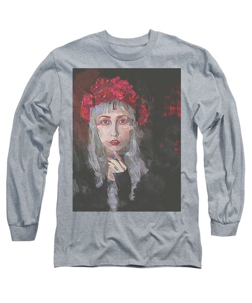 Long Sleeve T-Shirt featuring the digital art Gothic Petal by Galen Valle