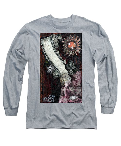 Long Sleeve T-Shirt featuring the mixed media Gothic Punk Goddess by Genevieve Esson