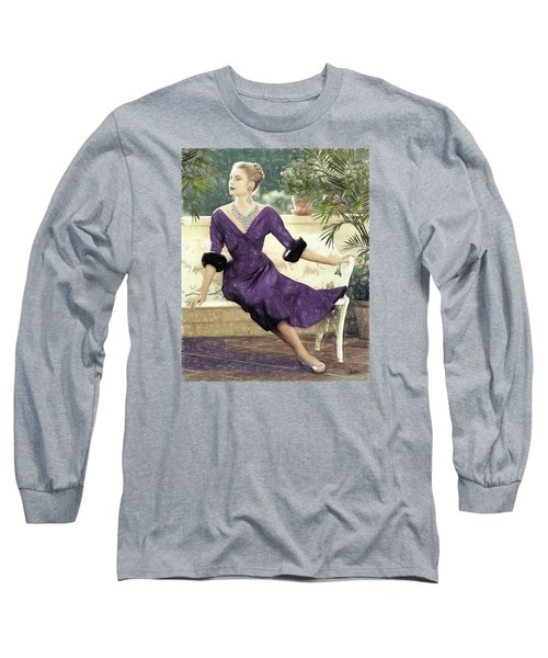 Grace Kelly Draw Long Sleeve T-Shirt by Quim Abella