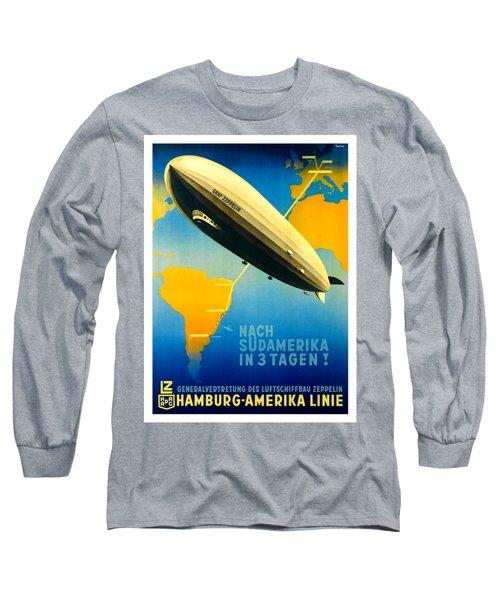 Graf Zeppelin Hamburg Amerika Line II 1936 Ottomar Anton Long Sleeve T-Shirt by Peter Gumaer Ogden Collection