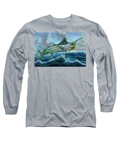 Grand Blue Marlin Jumping Eating Mahi Mahi Long Sleeve T-Shirt