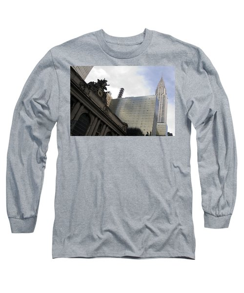 Grand Central And The Chrysler Building Long Sleeve T-Shirt by Michael Dorn