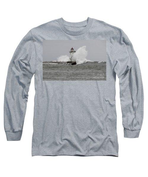 Grand Marais Lighthouse Long Sleeve T-Shirt by Sandra Updyke