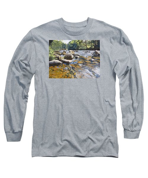 Long Sleeve T-Shirt featuring the painting Granite Boulders East Okement River by Lawrence Dyer