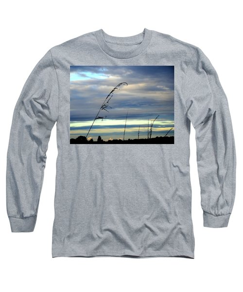 Grass Against Abstract Sky Long Sleeve T-Shirt