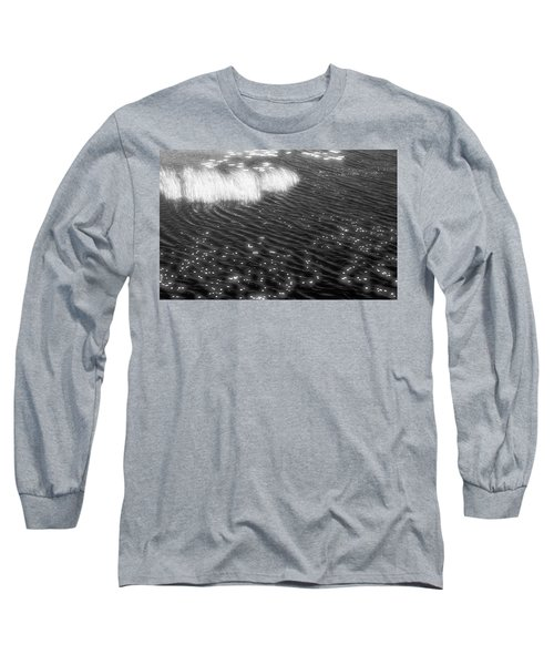 Grass And Water And Lilly Pads Bw2  Long Sleeve T-Shirt by Lyle Crump