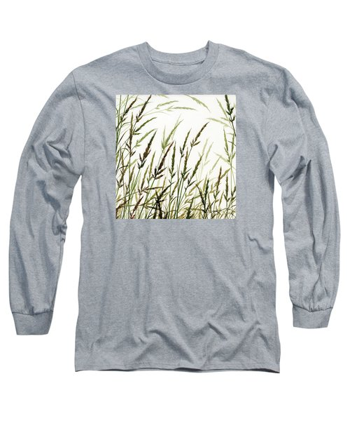 Long Sleeve T-Shirt featuring the painting Grass Design by James Williamson