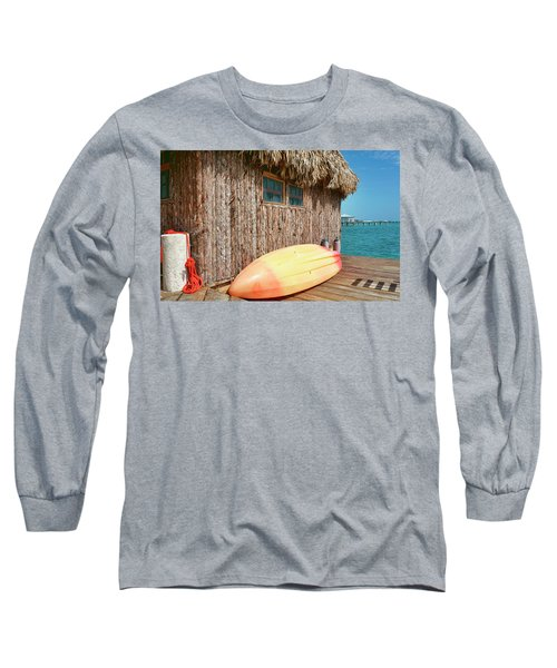 Grass Hut On Ambergris Caye Belize Long Sleeve T-Shirt