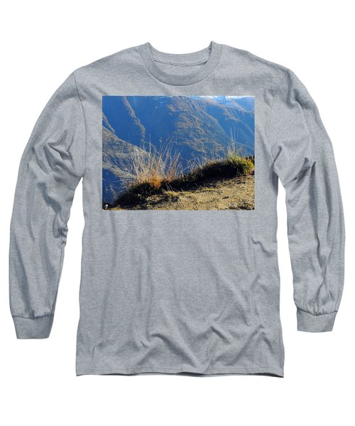 Grass In The Foreground, The Main Valley Of The Swiss Canton Of Valais In The Background Long Sleeve T-Shirt by Ernst Dittmar