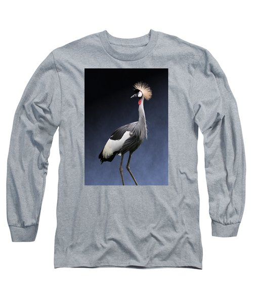 Gray Crowned Crane Long Sleeve T-Shirt