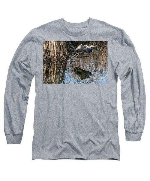 Gray Heron Flew Up Long Sleeve T-Shirt