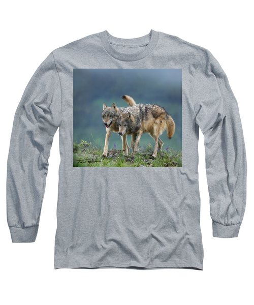 Gray Wolves Long Sleeve T-Shirt by Tim Fitzharris