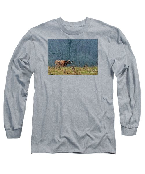 Long Sleeve T-Shirt featuring the photograph Grazing In Winter by Christian Mattison