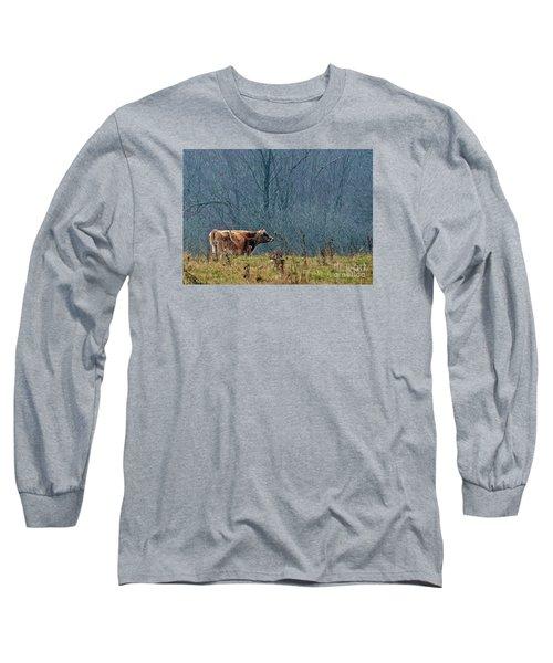Grazing In Winter Long Sleeve T-Shirt by Christian Mattison