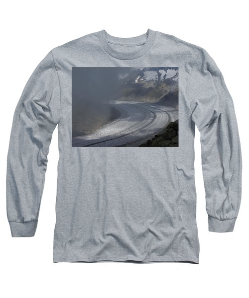 Great Aletsch Glacier In The Clouds. Canton Of Valais, Switzerland. Long Sleeve T-Shirt by Ernst Dittmar