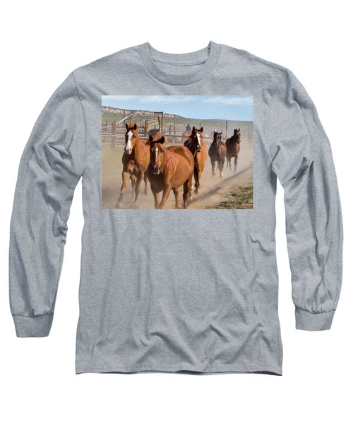 Great American Horse Drive - Coming Into The Corrals Long Sleeve T-Shirt