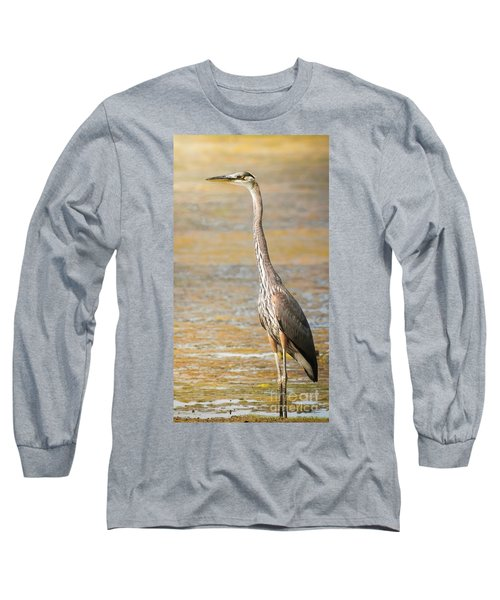 Great Blue At The Flats Long Sleeve T-Shirt by Robert Frederick