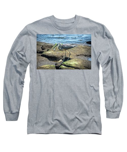 Great Blue Heron Catching A Blue Crab On Chesapeake Bay Long Sleeve T-Shirt