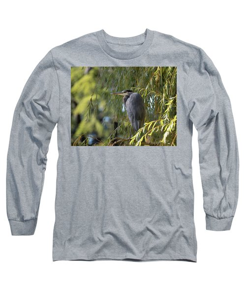 Great Blue Heron In A Willow Tree Long Sleeve T-Shirt by Keith Boone