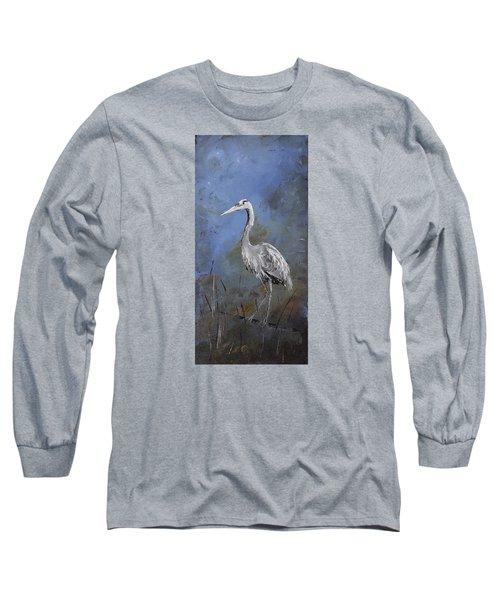 Great Blue Heron In Blue Long Sleeve T-Shirt