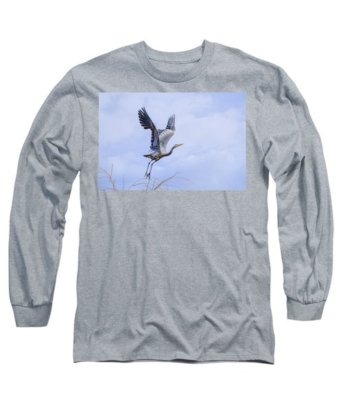 Great Blue Heron In Flight Long Sleeve T-Shirt by Keith Boone