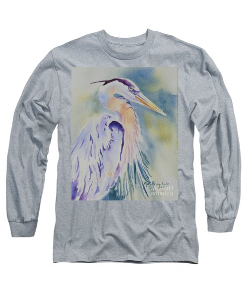 Long Sleeve T-Shirt featuring the painting Great Blue Heron by Mary Haley-Rocks
