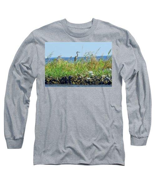 Great Blue Heron On Jetty Long Sleeve T-Shirt