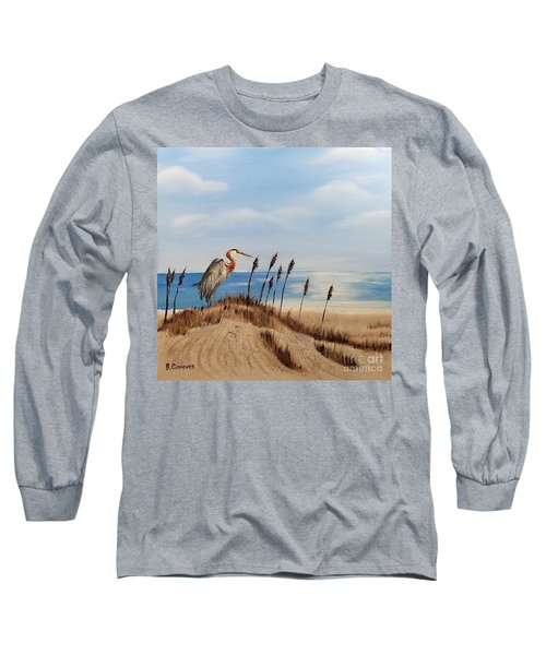 Great Blue Heron - Outer Banks Long Sleeve T-Shirt