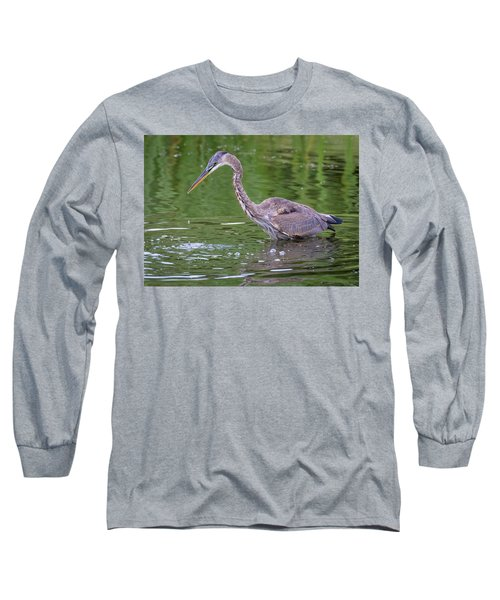 Great Blue Heron - The One That Got Away Long Sleeve T-Shirt