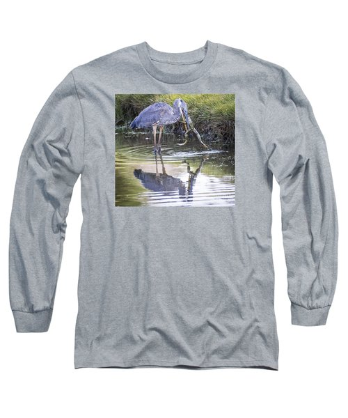 Long Sleeve T-Shirt featuring the photograph Great Blue Heron Vs Huge Frog by Ricky L Jones