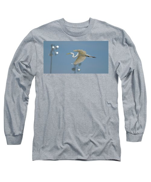 Great Egret In Flight And Flood Lighting Long Sleeve T-Shirt