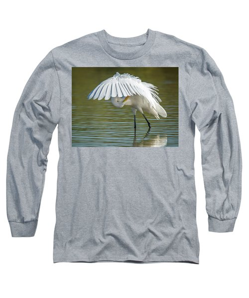 Great Egret Preening 8821-102317-2 Long Sleeve T-Shirt