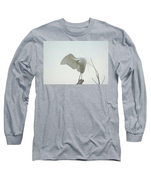 Great Egret Preening On Broken Tree Limb Long Sleeve T-Shirt