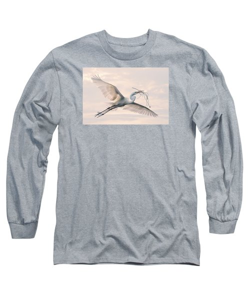 Long Sleeve T-Shirt featuring the photograph Great Egret With Nesting Material by Brian Tarr