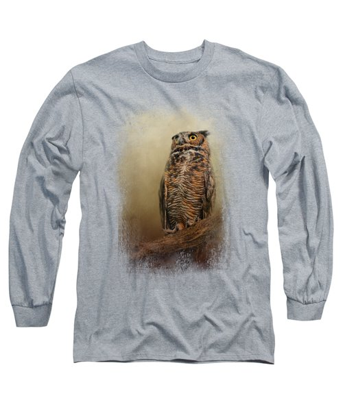 Great Horned Owl At Shiloh Long Sleeve T-Shirt by Jai Johnson