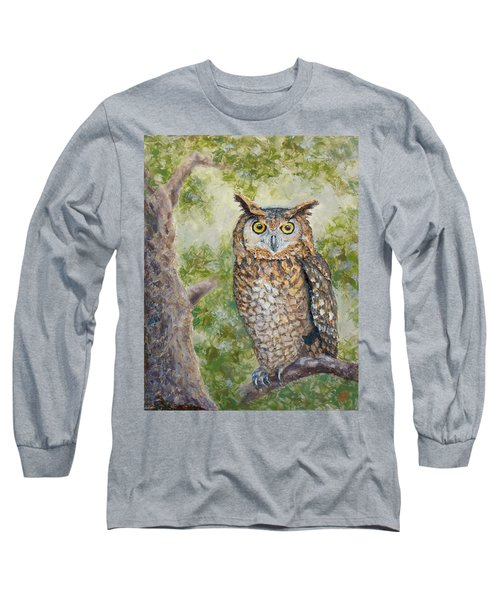 Great Horned Owl Long Sleeve T-Shirt by Joe Bergholm