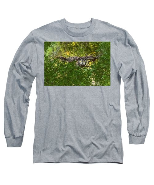 Great Horned Owl Take Off Long Sleeve T-Shirt by Marc Crumpler