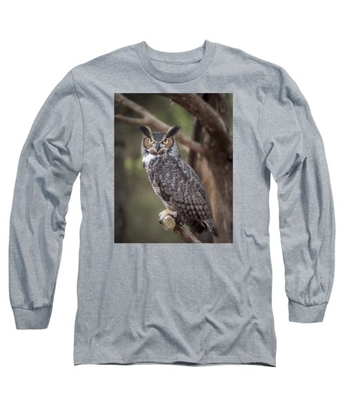 Long Sleeve T-Shirt featuring the photograph Great Horned Owl by Tyson and Kathy Smith