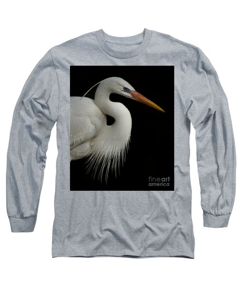 Great White Heron Portrait Long Sleeve T-Shirt by Myrna Bradshaw