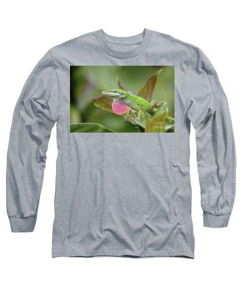 Green Anole Long Sleeve T-Shirt by Terri Mills