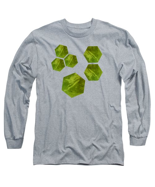 Long Sleeve T-Shirt featuring the mixed media Green Calcite Hexagons On Blue-violet by Rachel Hannah
