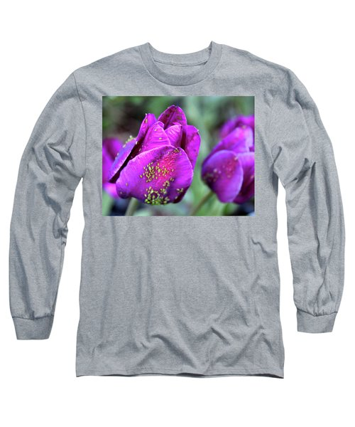 Aphids On Purple Tulips Long Sleeve T-Shirt