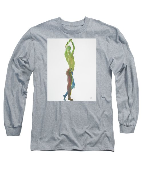 Long Sleeve T-Shirt featuring the painting Green Gesture 1 Profile by Shungaboy X