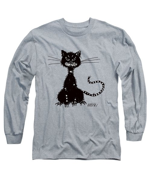 Green Grunge Evil Black Cat Long Sleeve T-Shirt