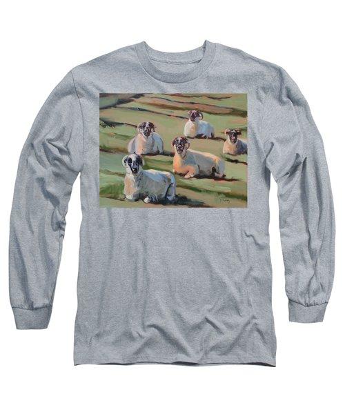 Green Hill Sheep At Rest Long Sleeve T-Shirt