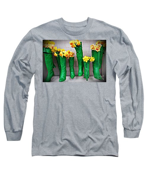 Green Shoes For Yellow Spring Flowers Long Sleeve T-Shirt