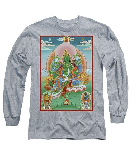 Green Tara With Retinue Long Sleeve T-Shirt